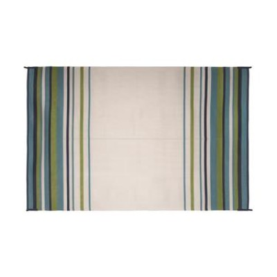 TAPIS 12' X 9' ; Aqua/ Navy/ Lime/ White Stripe;